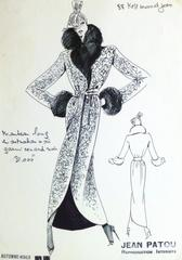 French Haute Couture Fashion Sketch - Fur Trimmed Coat