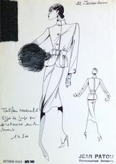 French Haute Couture Fashion Sketch - Tweed Dress Suit