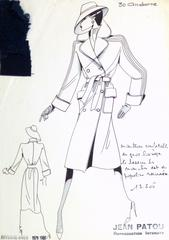 French Haute Couture Fashion Sketch - Trench Coat
