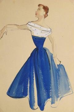 Vintage Gouache Fashion Sketch -  Blue and White Dress
