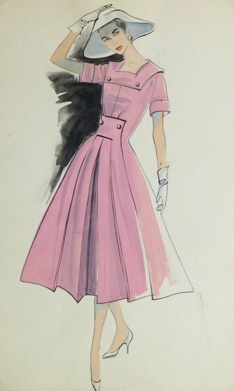Vintage Gouache Fashion Sketch - Pink Day Dress