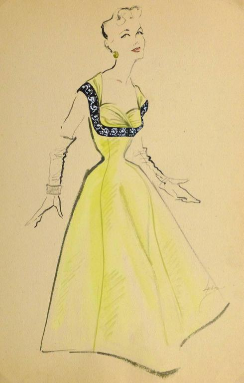 Unknown - Vintage Gouache Fashion Sketch - Yellow Evening Gown For ...