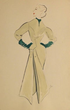Vintage Gouache Fashion Sketch - Long Sleeved Dress