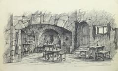 Belgian Pencil Sketch - Rustic Tavern