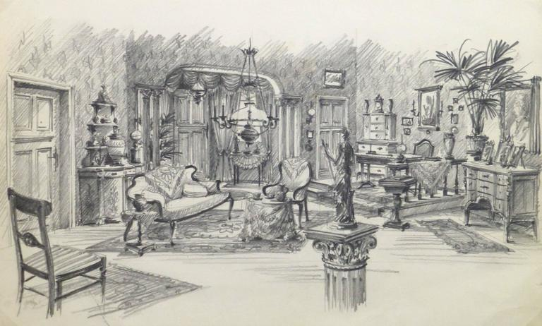 Unknown belgian pencil sketch bourgeois salon for sale at stdibs