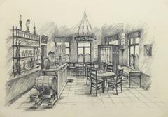 Belgian Pencil Sketch - Café