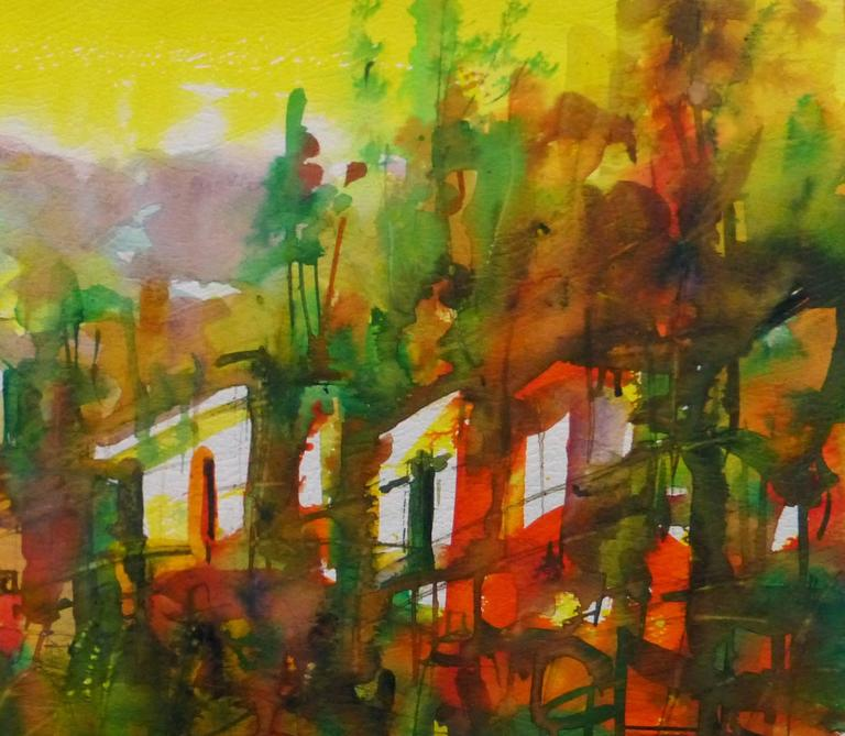 Watercolor Landscape - Forest of Light - Brown Landscape Art by Unknown