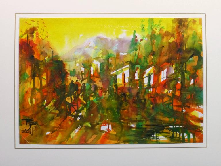 Splendid Peruvian watercolor of a forest surrounding a mountain peaks in warm hues of orange, yellow and green, 2011. Signed and dated lower left.  Original artwork on paper displayed on a white mat with a gold border. Archival plastic sleeve and