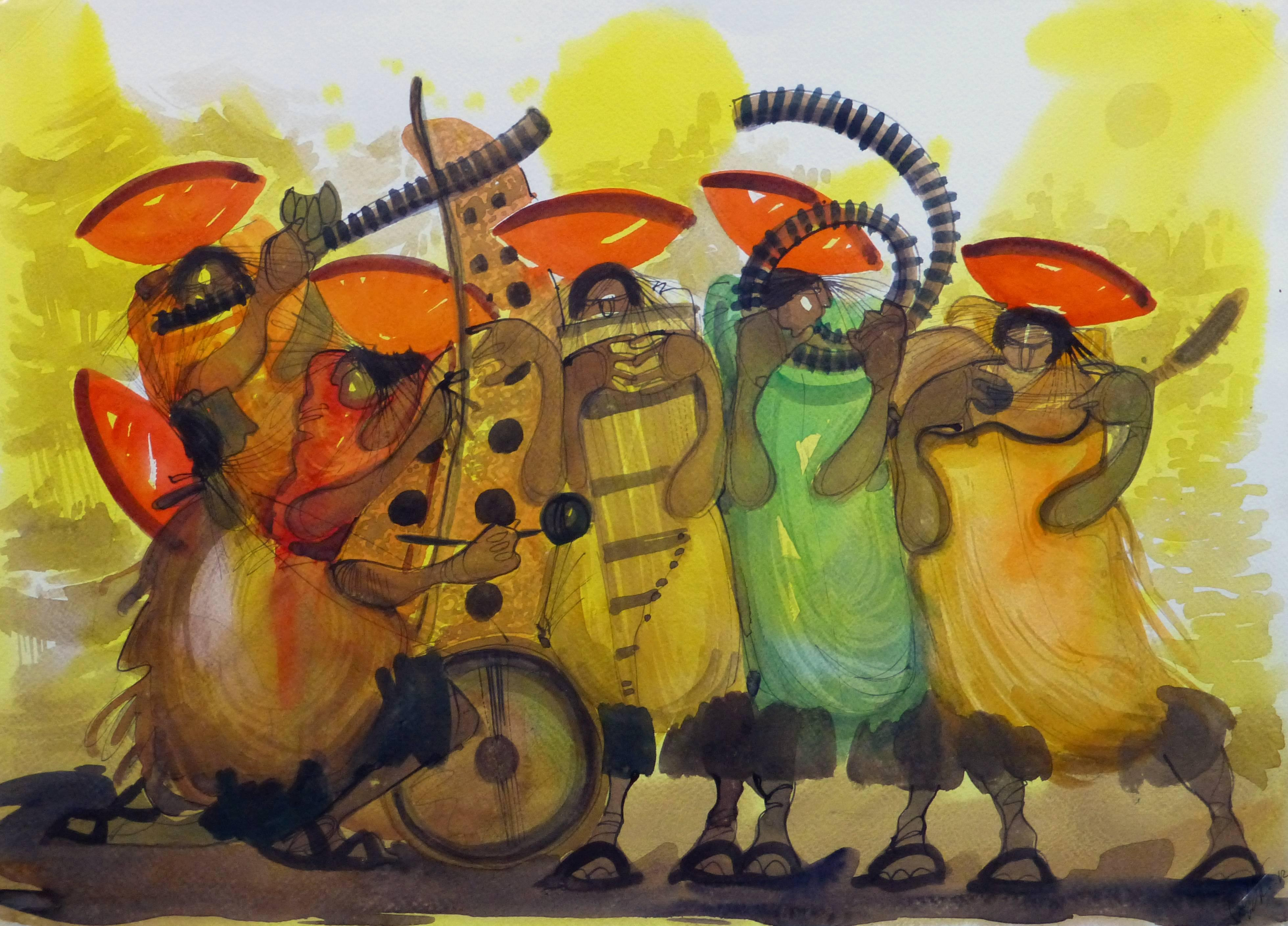 Vibrant Colored Watercolor - Lively Local Musicians
