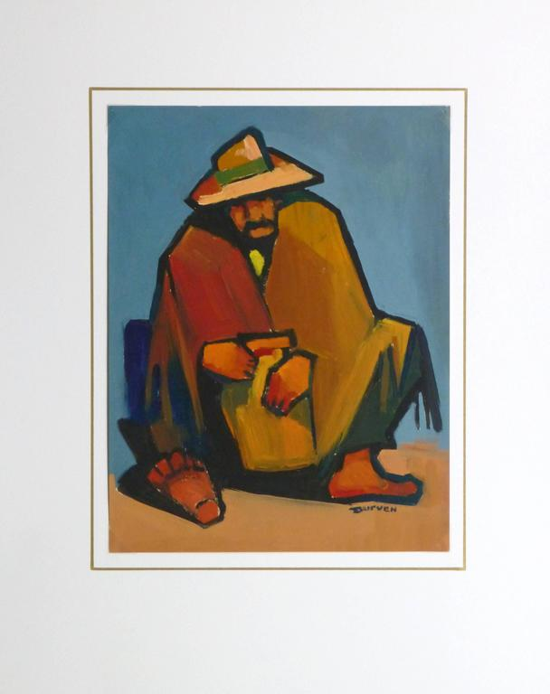 Bold oil on paper portrait of a man wearing a poncho taking a break by Argentinian artist Durven, circa 1950. Signed lower right.  Original artwork on paper displayed on a white mat with a gold border. Archival plastic sleeve and Certificate of