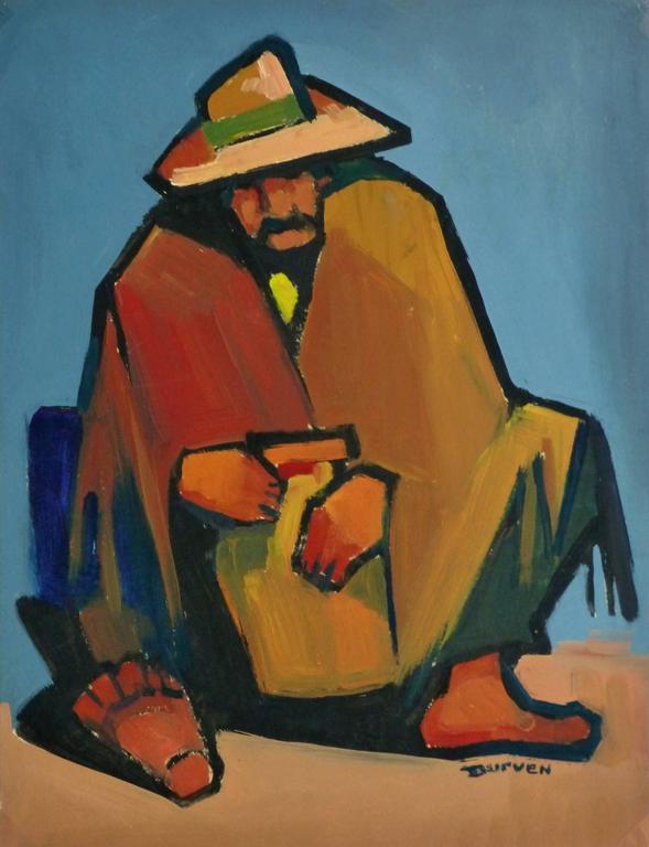 Unknown Portrait Painting - Oil Portrait - Hombre de Descanso