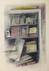 Softly-Colored French Oil Pastel - Bookcase Abstraction