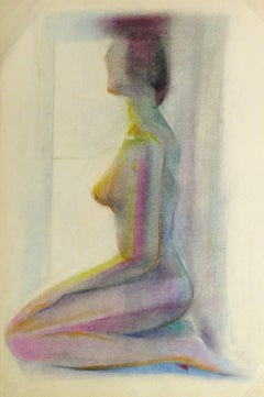 French Oil Pastel Sketch - Rainbow Nude