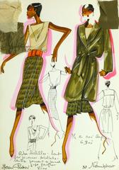 French Fashion Sketch - Khaki Green Skirt