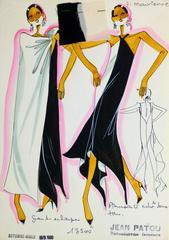 French Haute Couture Fashion Sketch - Asymmetrical Dress