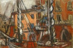 Richly-Hued Oil Pastel Drawing - Boats in the Harbor