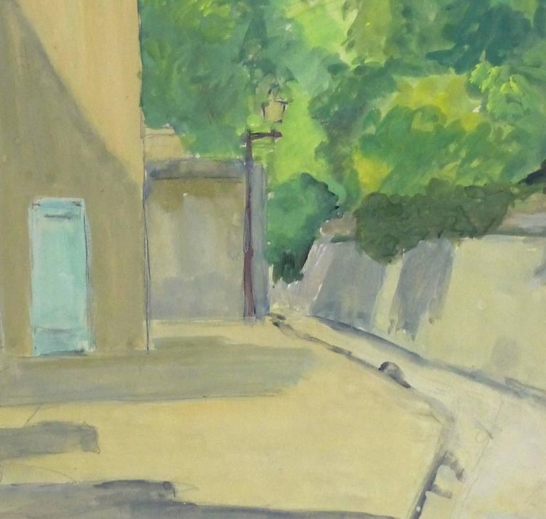 French Gouache - Paris Montmartre Alleyway - Painting by André Poirrier