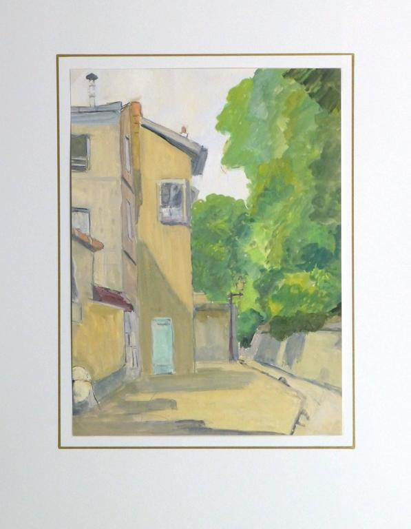 Sunlit French gouache painting of a small alleyway of Paris Montmartre bordered with full trees, circa 1950.  Original artwork on paper displayed on a white mat with a gold border. Archival plastic sleeve and Certificate of Authenticity included.