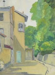 French Gouache - Paris Montmartre Alleyway