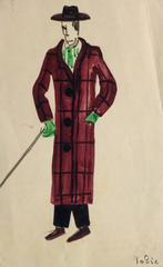 French Theater Costume Sketch - Plaid Coat