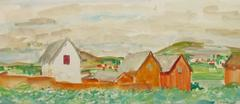 Vintage French Watercolor Landscape - Rural Outskirts