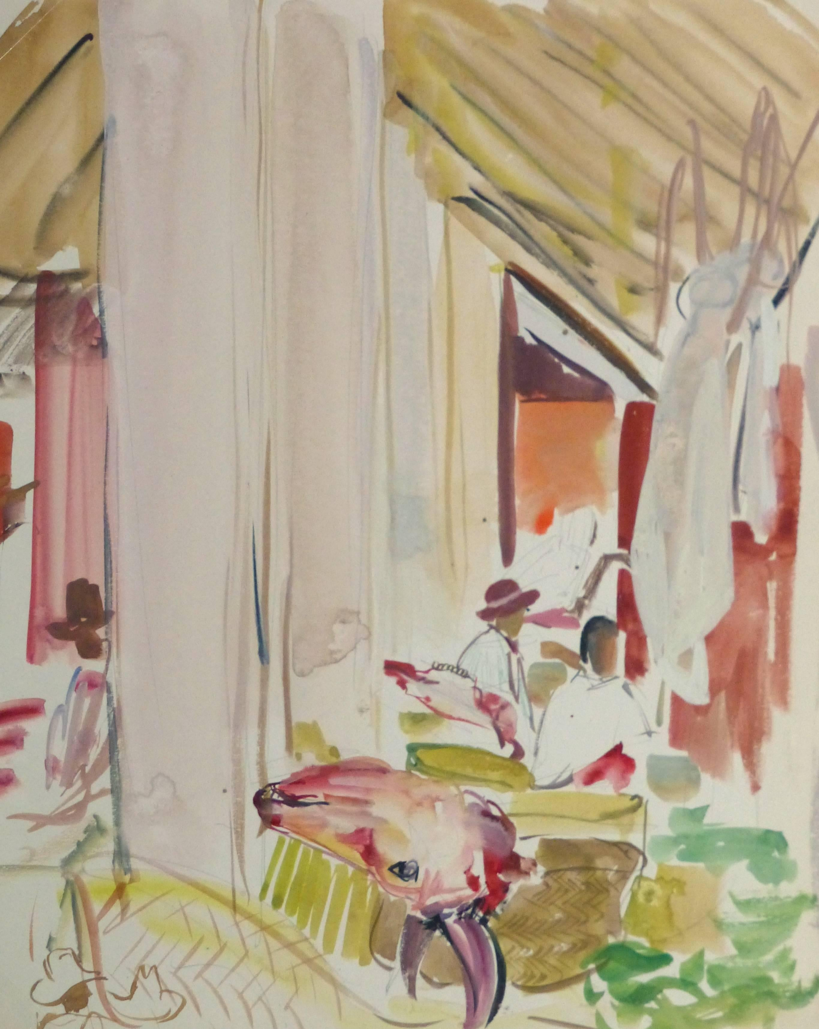Vintage French Watercolor - Island Market