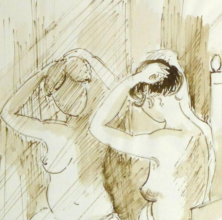 French Ink Wash- Nu sur le Siège Devant le Miroir (Naked on the Seat) - Painting by B. Charasson