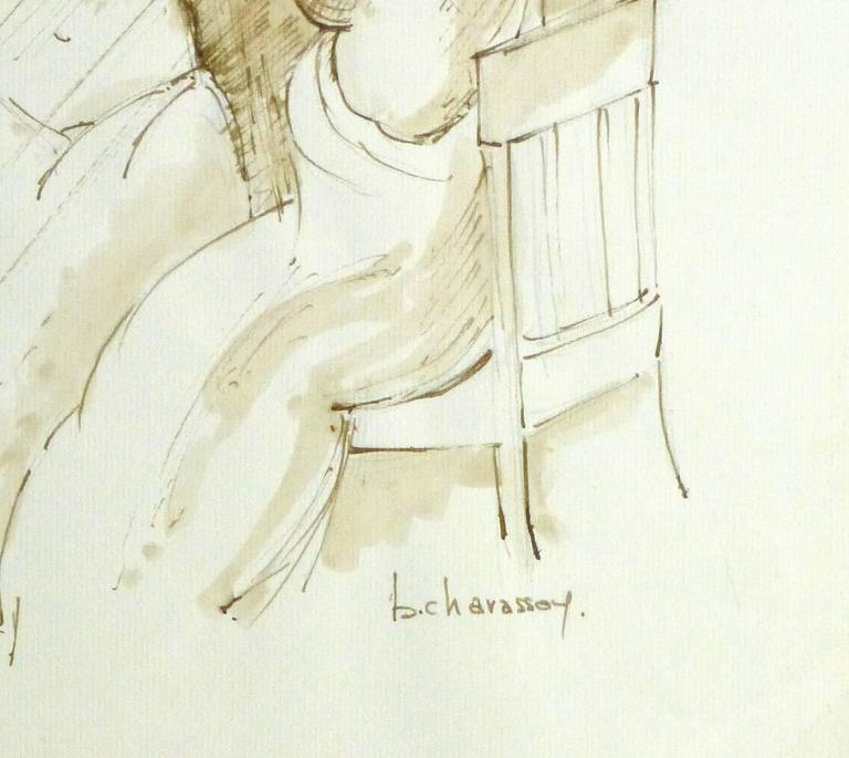 French Ink Wash- Nu sur le Siège Devant le Miroir (Naked on the Seat) - Beige Nude Painting by B. Charasson