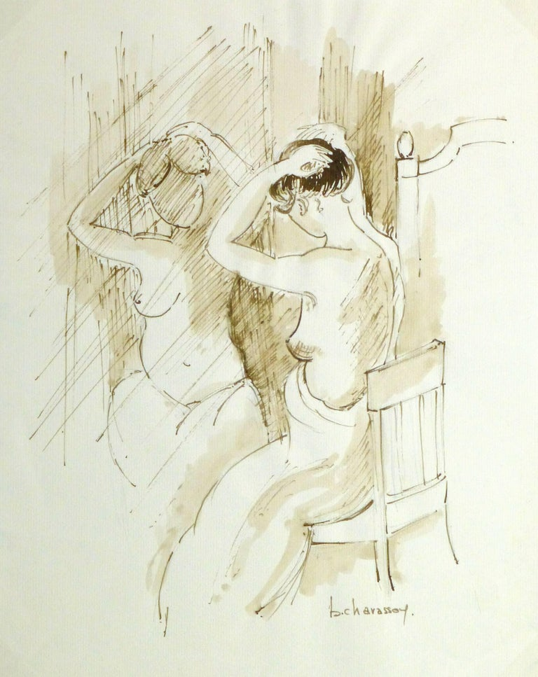 B. Charasson Nude Painting - French Ink Wash- Nu sur le Siège Devant le Miroir (Naked on the Seat)