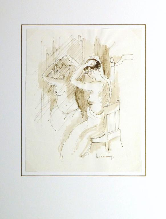 Light hearted French ink painting of a partially nude young female arranging her hair in front of a mirror by B. Charasson, 1980s. Signed lower right.  Original artwork on paper displayed on a white mat with a gold border. Archival plastic sleeve