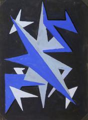 French Abstract - Blue Chevrons
