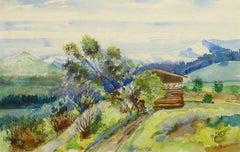 Watercolor Landscape - Swiss Cabin
