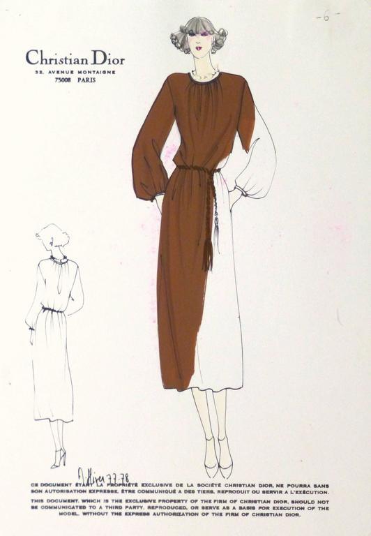 Christian Dior Vintage Christian Dior Fashion Sketch - Brown Dress