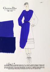 Vintage Christian Dior Fashion Sketch - Blue Dress