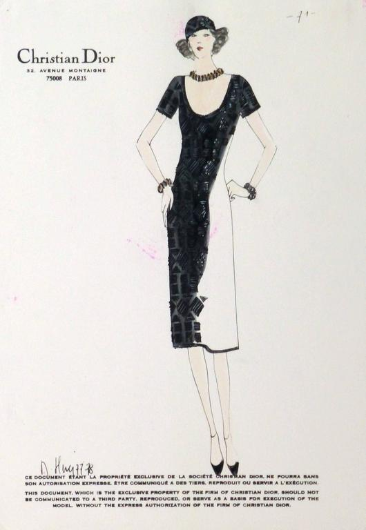 Christian Dior - Vintage Christian Dior Fashion Sketch - Black ...