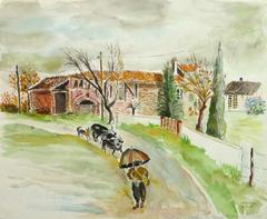 French Watercolor Landscape - The Farmstead