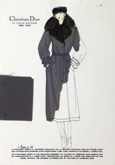 Vintage Christian Dior Fashion Sketch - Black Coat