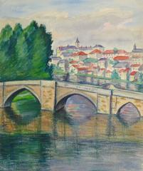 French Watercolor of Bridge and Town in the background - Loire Valley