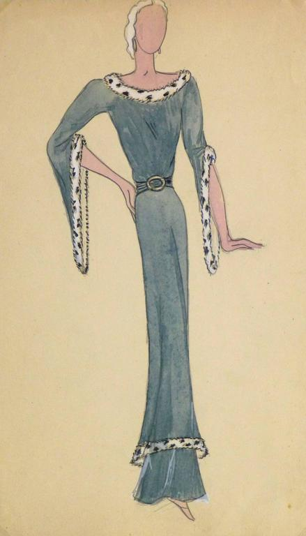 Unknown - French Fashion Sketch - Fur Trimmed Evening Dress For Sale ...