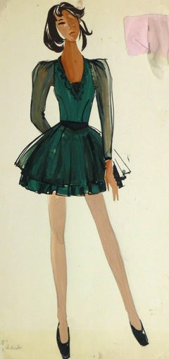 French Fashion Sketch - Ballerina Dress
