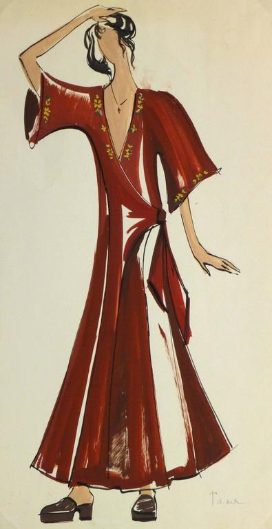 French Fashion Sketch - Red Wrap Dress