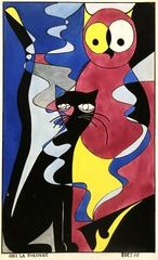 French Abstract - Owl & Cat