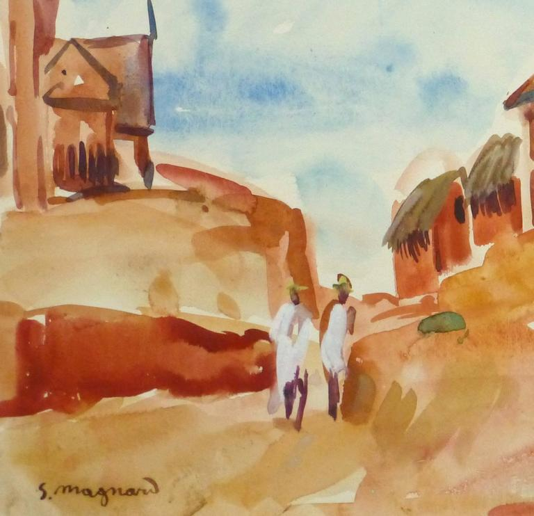 French Watercolor Landscape - Hilltop Village - Art by Stephane Magnard