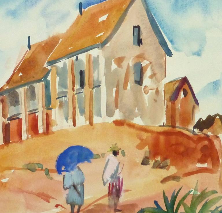 French Watercolor Landscape - Hilltop Village - Beige Landscape Art by Stephane Magnard