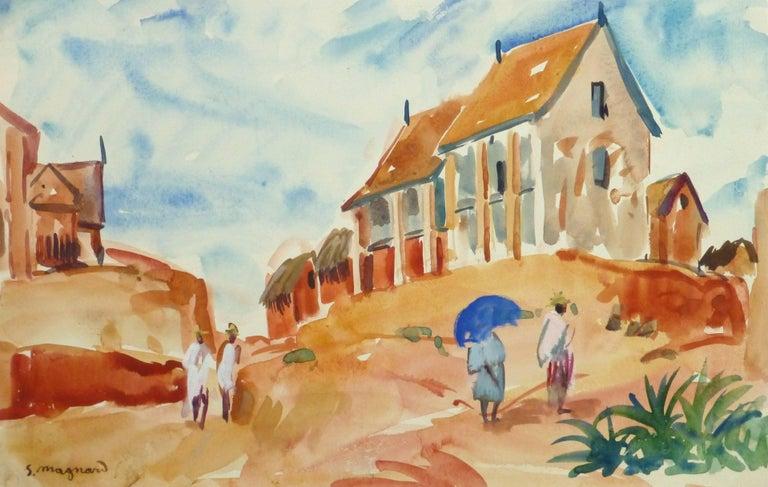 Stephane Magnard Landscape Art - French Watercolor Landscape - Hilltop Village