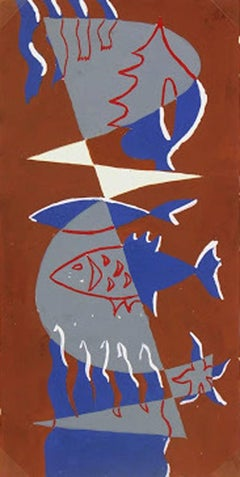 Mid-Century Abstract Painting -  Fish and the Geometry of Sea Life