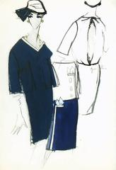 Vintage Balmain Fashion Sketch - Navy Dress Suit