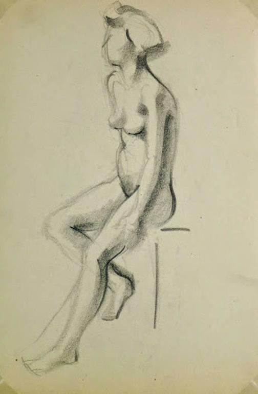 Nude Charcoal Sketch - Seated Female