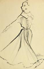 Vintage Fashion Sketch - Pleated Dress