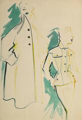 Vintage Fashion Sketch - Pocket Dress & Coat